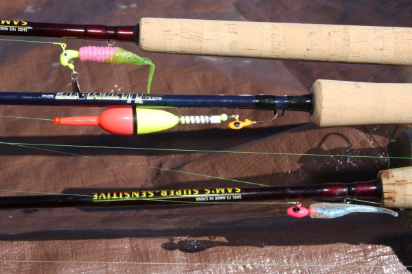 Three rods, three different presentations…must have for crappie fishing in northern lakes during May. From the bottom up: (1) Casting light jigs, a 7-foot rod with 4-lb test line; (2) Slip bobber for live minnows, an 8-foot rod with 6-lb test line; (3) dripping jigs in shallow thick cover; a 10.5-foot rod with 8-lb test line.