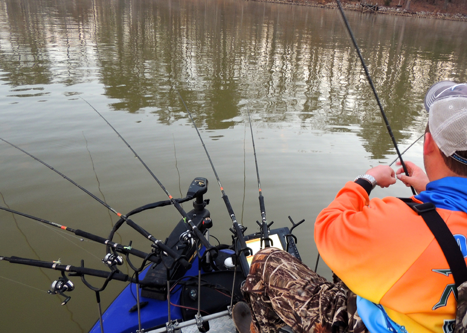 Outlaw begins each day by setting his B'n'M poles out at different depths and with different terminal rigs as he tries to pattern the crappie.