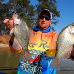 Mathew Outlaw with a nice pair of crappie. Santee Cooper, SC, offers great fishing opportunities for catches like these.