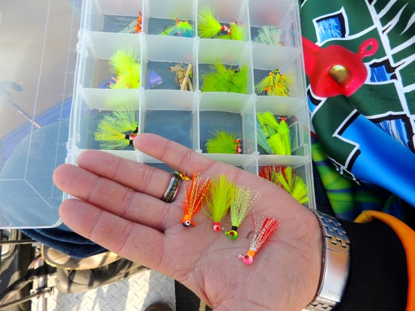 Outlaw's hand tied jigs allows him to have any color combination he wants.