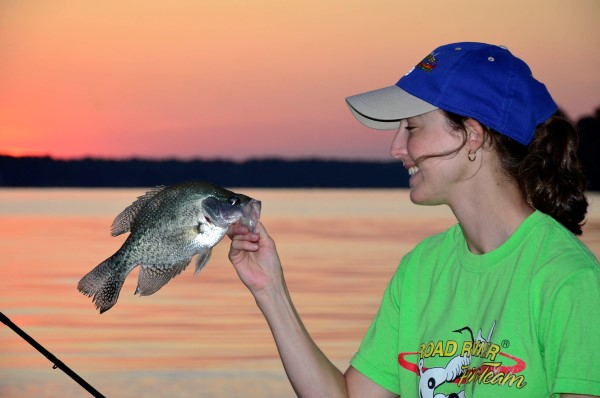 Alicia Phillips knows when the current is running fast it's a good time to catch plenty of big crappie.