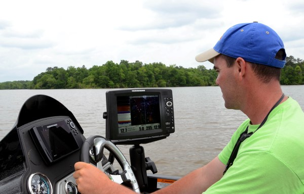 When there's a fast current and muddy water present, you must depend heavily on your depth finder to locate current breaks and the places where crappie are holding.