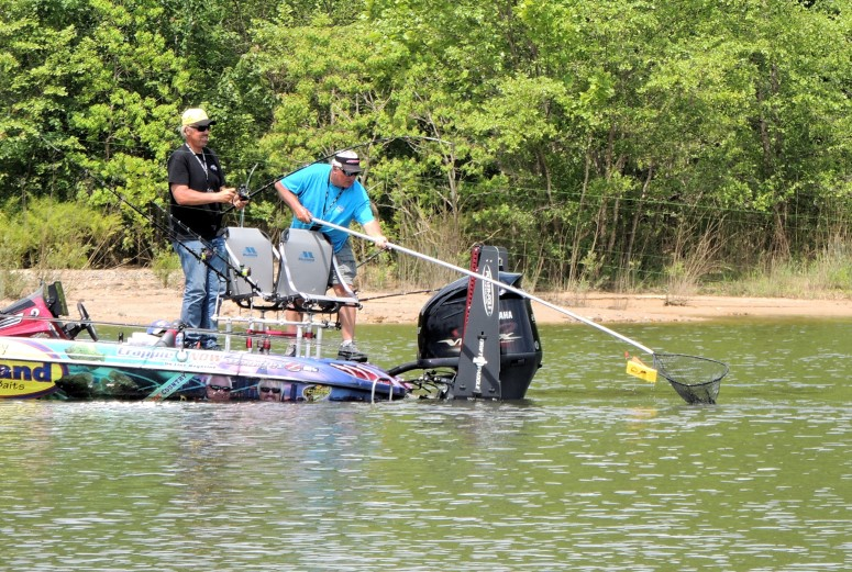 The rod rack on the back of the Crappie Country boat is designed to allow two anglers to work the planner boards and still leave room for netting the fish.