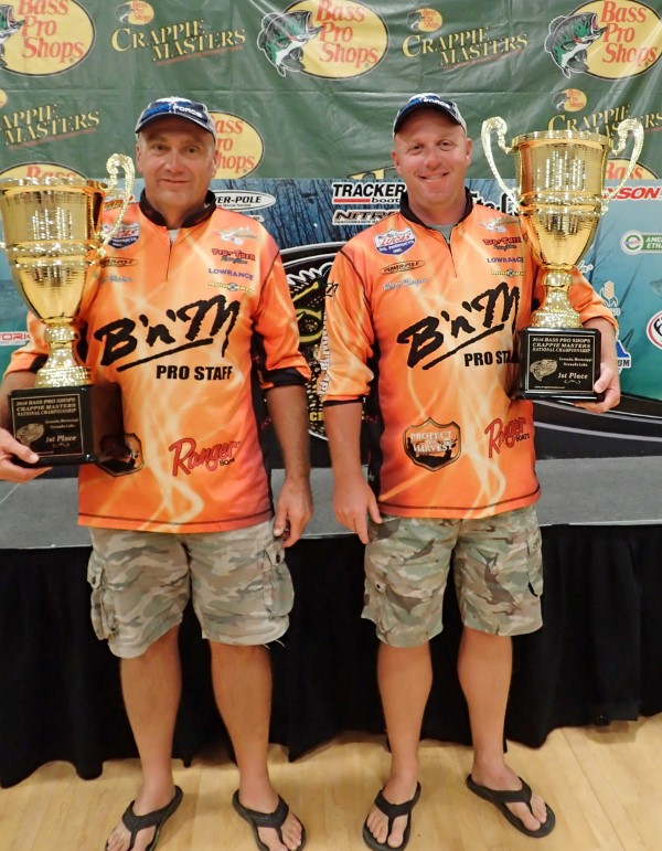 Watson and Matt Morgan holding the National Championship trophies earned in the 2016 Crappie Masters Championship at Grenada Lake, MS.
