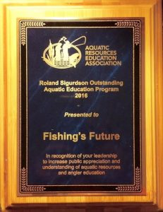 Fishing's Future is the proud recipient of the 2016 Roland Sigurdson Outstanding Aquatic Education Program Award.