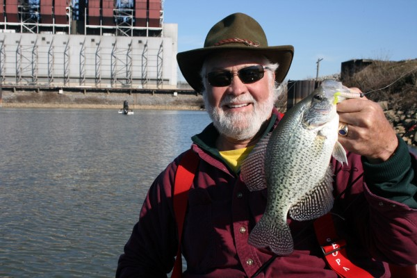 Doug Markham from Nashville poses with a new friend he hauled out of Old Hickory Lake near the 109 bridge.