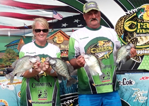 There are many male-female teams competing in crappie tournaments. The Robinson husband-wife team is shown at the Alabama River weighin.