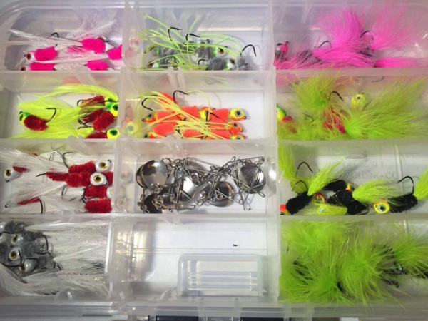 "Joe Bragg ties the size and colors of jigs that are the ""hot bite"" for the lake he is fishing."