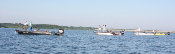 Conditions can get crowded in open water or as in this photo, along a fence row at Truman Lake. Sportsmanship and following rules are required to avoid problems.