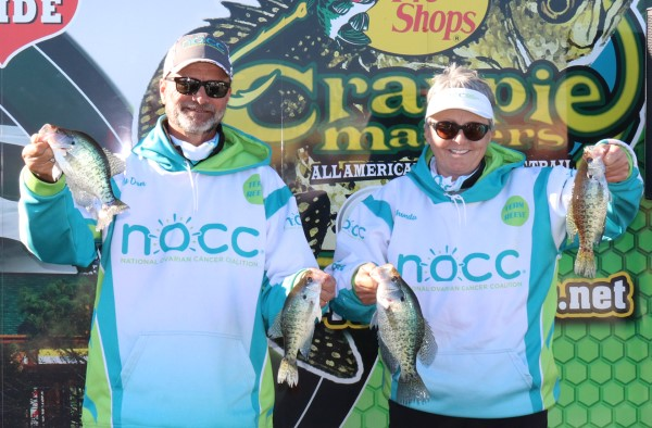 Jay Don & Rhonda Reeve at the Crappie Master D'Arbonne tournament. Rhonda is a cancer survivor and back to crappie fishing.