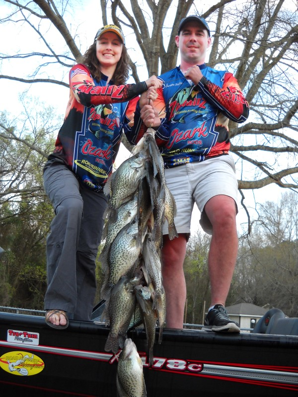 """""""When my wife, Alicia and I go out on the Alabama River or Lake Jordan and catch a stringer of crappie like this during June, I keep up with where we've caught the crappie,"""" Jonathan Phillips explains. """"I know we can go back to those same places almost every day and catch more crappie."""""""