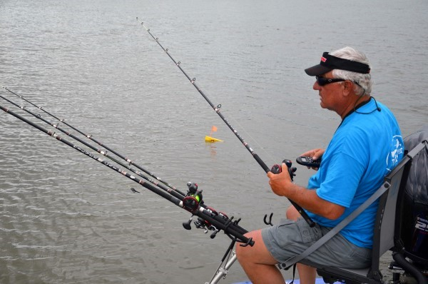 Dan Dannenmueller, from Wetumpka, Ala., works the trolling motor control while watching planer boards rigged with crankbaits.