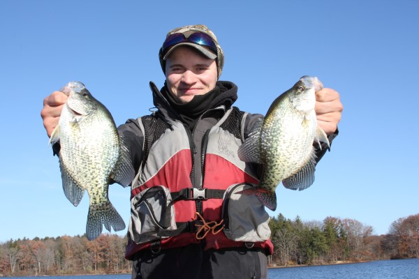 RJ Graham's bling presentation pays off. He worked a deep water brushpile where crappie were suspended at the top of the cover.