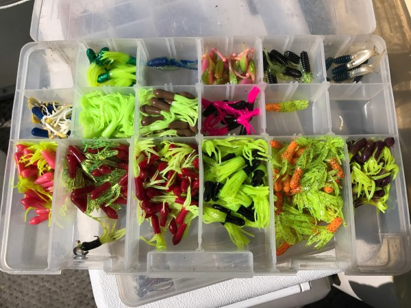 Guess what Terry Saldeen's favorite color of tube jig is when he fishes murky Truman Lake? Yes, it's chartreuse.