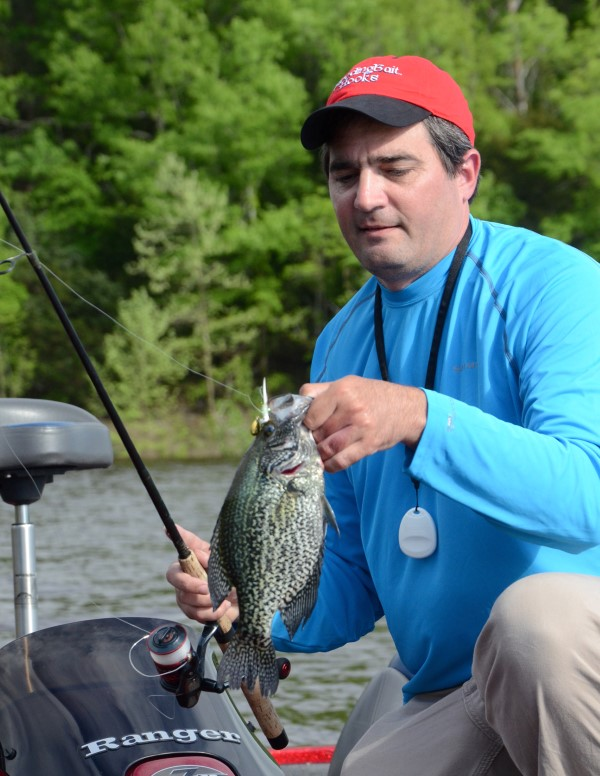 Chris Duraji catches fish all year long like this warm weather crappie. However, for the big slabs, he says nothing beats winter fishing on clear reservoirs.