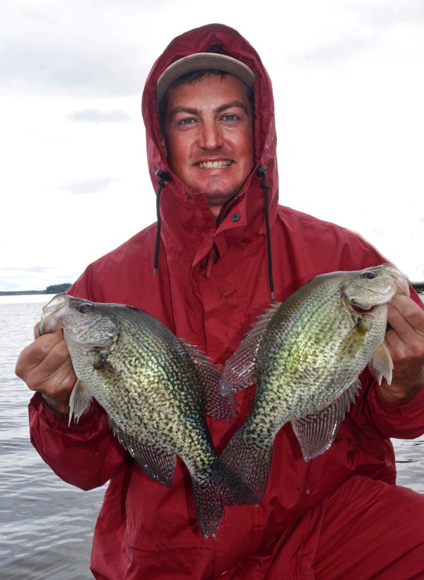 To catch fat crappie like these in cold weather, you must brave the elements and use your depth finder.