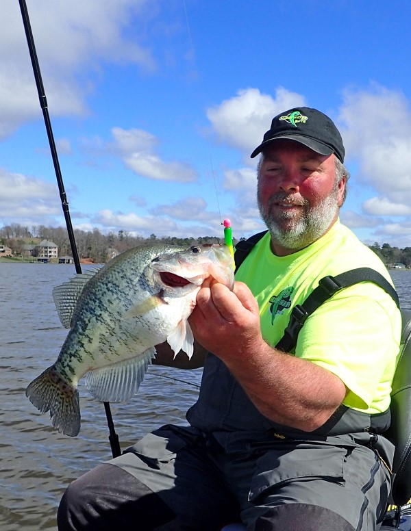 Billy Don Surface with a good crappie. Keeping a focus on ledges is an important part of a his searches.