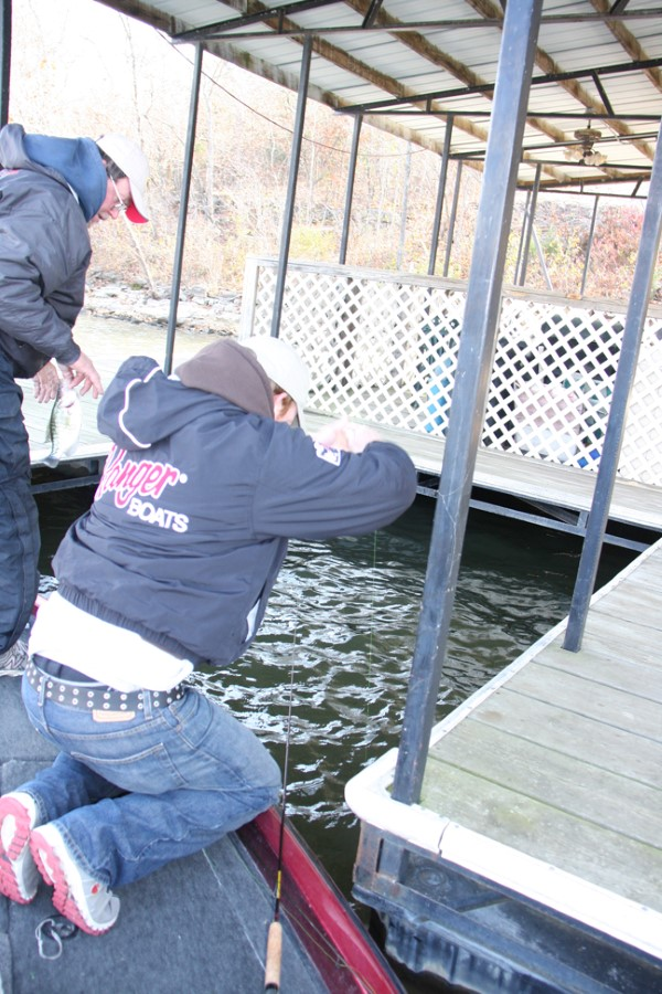 Obstacles are everywhere around a dock so it is not unusual for a fisherman to go to a fish to get it landed.