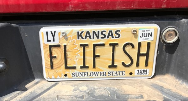 Hartman's license plate reflects his passion for fly fishing.