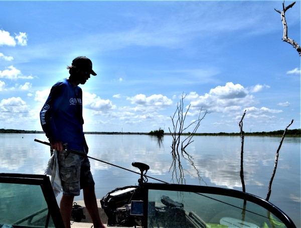 Flooded tree rows often lead to big crappie at Truman Lake in the heat of the summer.