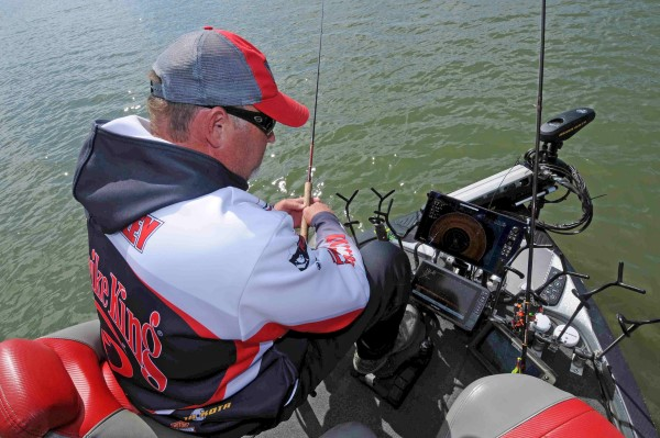 His array of electronics on the front deck of his boat gives Tim Blackley a big advantage when vertical jigging for crappie holding tight to cover.