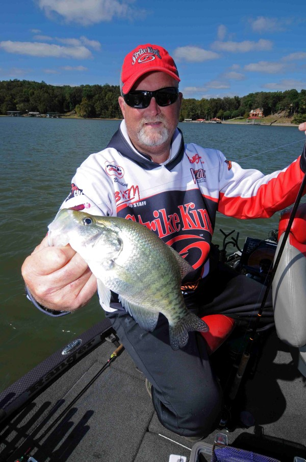 Five electronics units strategically mounted on his boat allows Tim Blackley to find crappie hot spots and stay on top of the fish. His results are good.