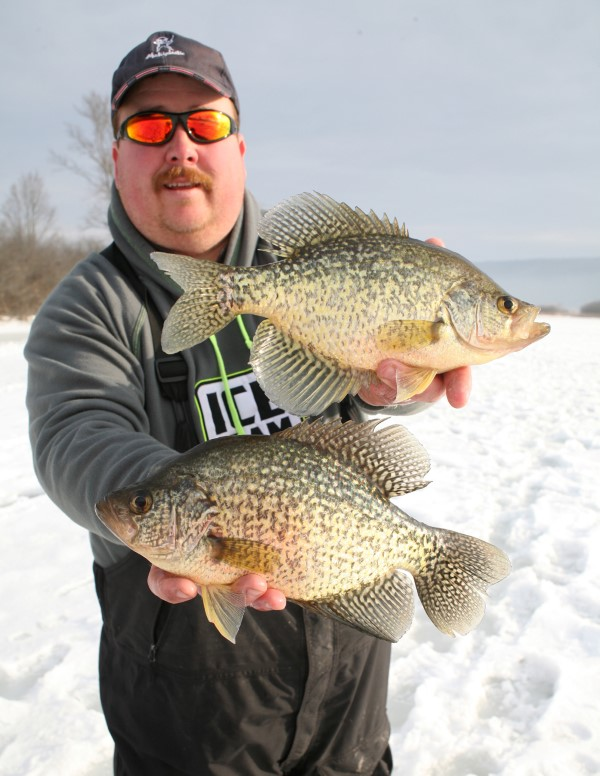 Good crappie from the ice. Days like these prove that a proper presentation in the right spot can produce good fish,